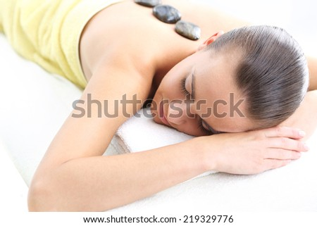 Hot stone massage, thermotherapy, drainage, acupressure . Aromatherapy, medicine east, natural medicine  - stock photo