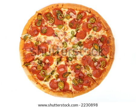 Hot summer jalapeno pepper and meat pizza, macro close up isolated over white - stock photo