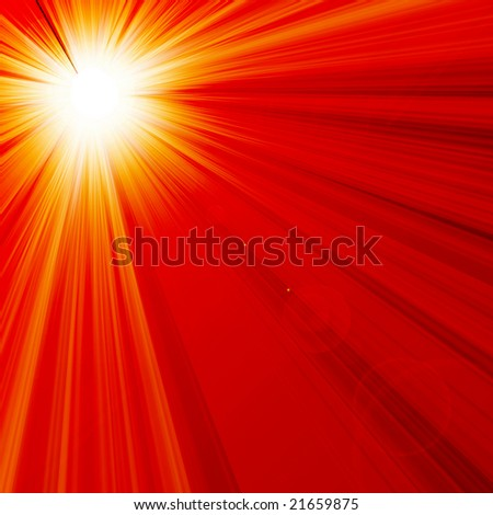 Hot summer sun in a red background