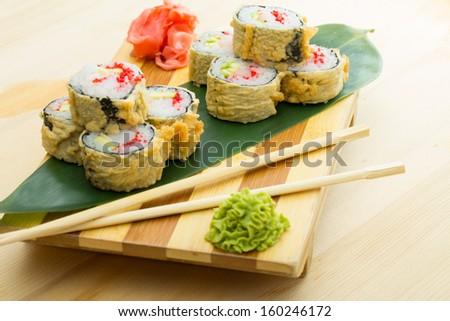 hot sushi roll - stock photo