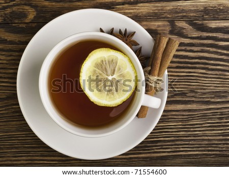 hot tea with lemon - stock photo