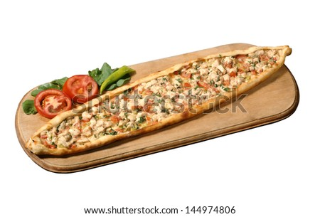 Hot Turkish Pide Pockets are ready to eat with Turkish - stock photo
