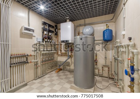 Hot water boiler boiler room heating stock photo royalty for Room heating system