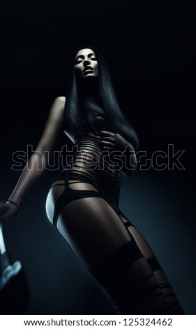 hot woman in black stripes - stock photo