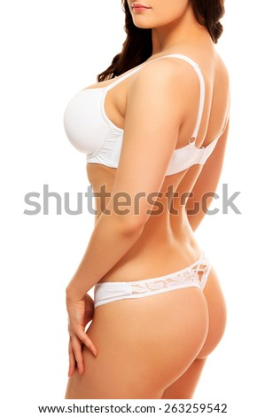 Hot woman in white underwear, white background, isolated  - stock photo
