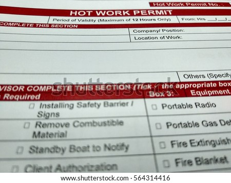 Work permit stock images royalty free images vectors shutterstock hot work permit form and checklist hot work permit is a safety tools to ensure pronofoot35fo Gallery