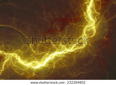 Hot yellow lightning, abstract electrical design - stock photo