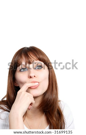hot young woman sucking her finger - stock photo