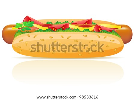 hotdog  illustration isolated on white background - stock photo