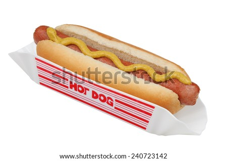 Hotdog in a bun and holder with yellow mustard isolated over white with a clipping path - stock photo