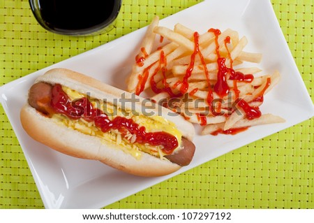 hotdog sandwich with french fries - stock photo