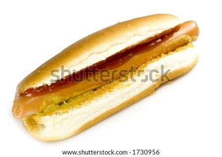 Hotdog with ketchup and mustard - stock photo