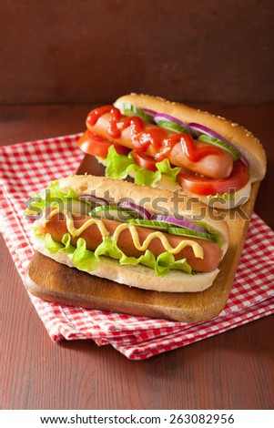 hotdog with ketchup mustard and vegetables - stock photo
