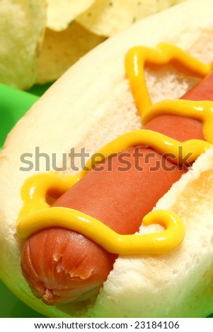 Hotdog with mustard and chips on green plate. - stock photo