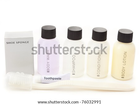 Hotel amenities kit against white background - stock photo