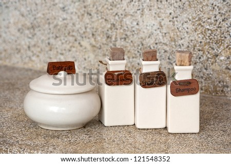 hotel amenities kit with care accessories - stock photo