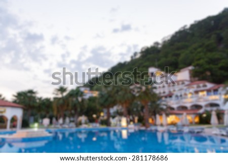 hotel area buildings in the evening abstract blur background - stock photo