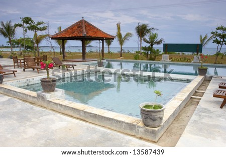 hotel at beach - stock photo