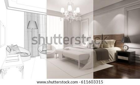 Hotel Bedroom Planning Stages Cad Draft Stock Illustration 611603315