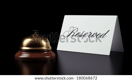 Hotel Bell Sign isolated on black background - stock photo