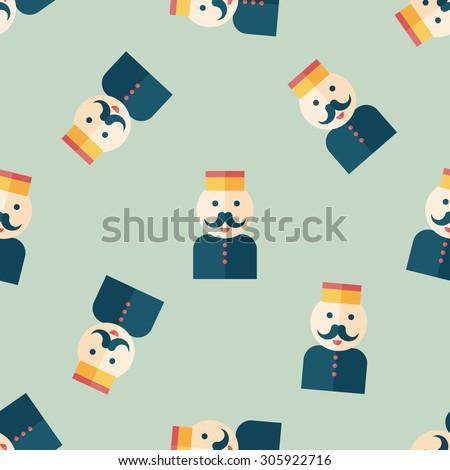 Hotel bellhop flat icon,seamless pattern background - stock photo