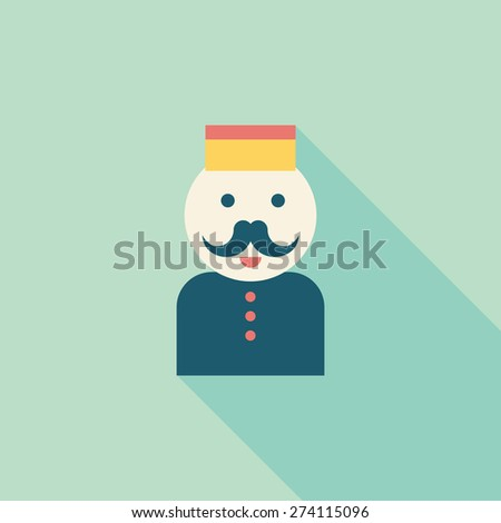 Hotel bellhop flat icon with long shadow - stock photo