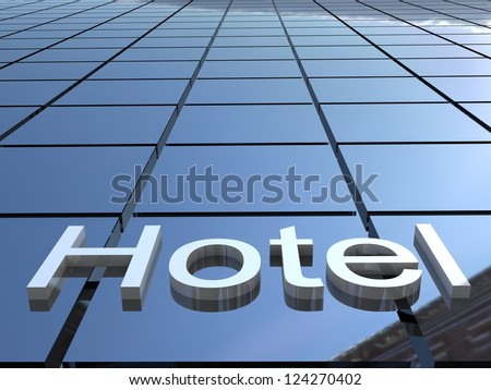 Hotel building, 3D images - stock photo