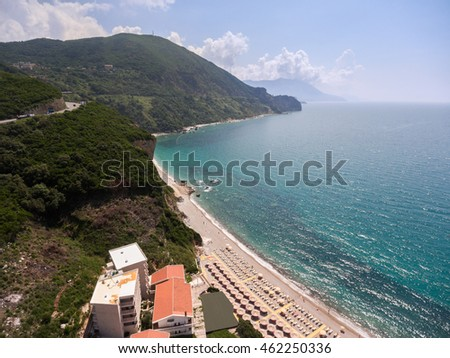 Hotel buildings are on Adriatic seashore on the Jaz beach. Budva municipality, Montenegro