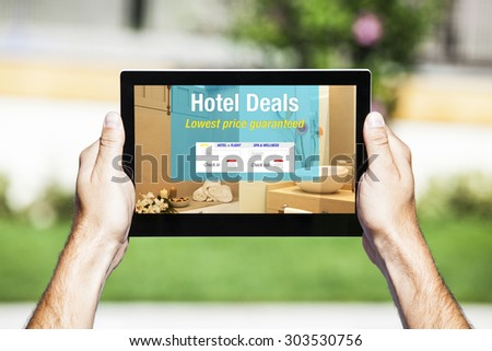 Booking hotel stock images royalty free images vectors for Tablet hotel deals