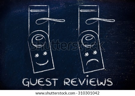 hotel feedback by guests: positive and negative feedback on door hangers - stock photo