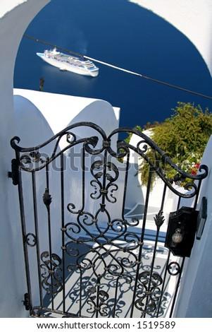 Hotel gate at Santorini Island, Greece - stock photo