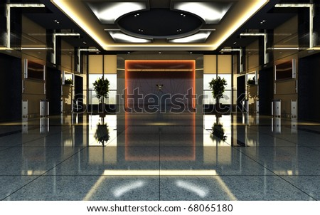 hotel hall rendering - stock photo