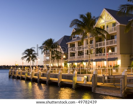 Hotel in Key West at sunset - stock photo