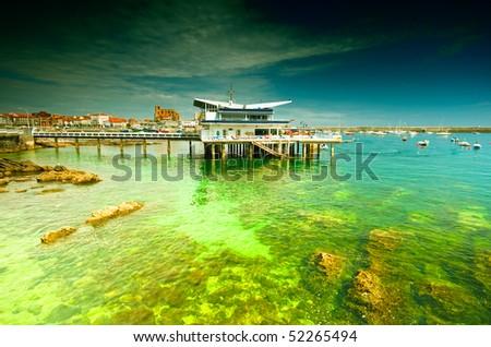 Hotel in the harbor - stock photo