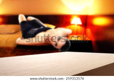 hotel interior of room and four free space  - stock photo