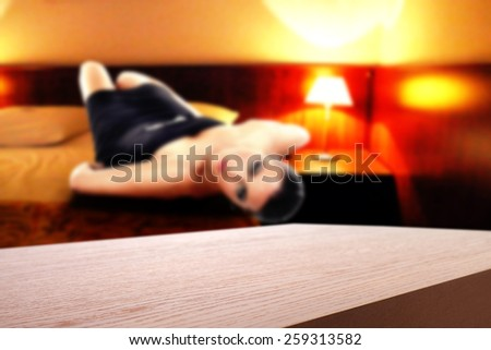 hotel interior of room and red desk space  - stock photo