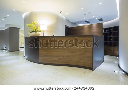 Hotel interior - reception area  - stock photo