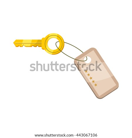 Hotel key icon in cartoon style on a white background - stock photo