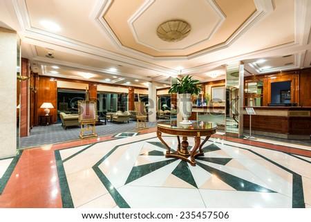 Hotel lobby and cafe interior - stock photo