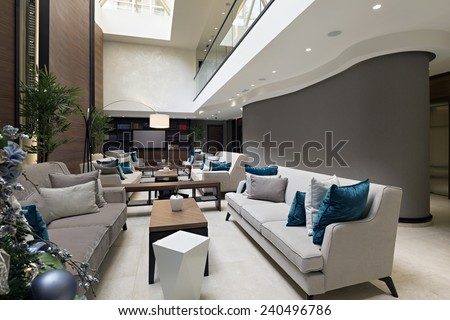 Hotel lobby cafe  - stock photo