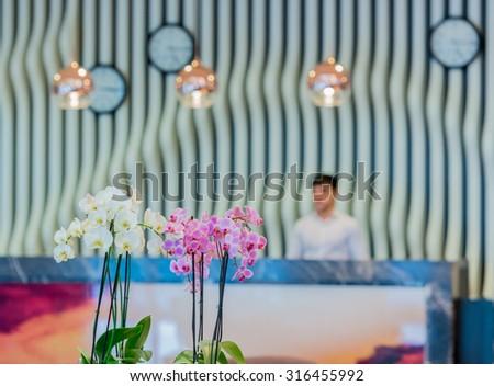 Hotel lobby with modern design - stock photo