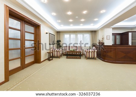 Hotel lobby with reception desk