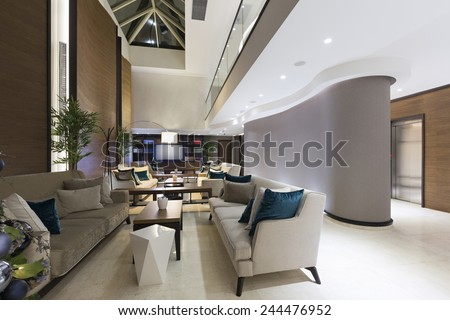 Hotel lounge interior - stock photo