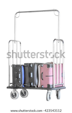 Hotel luggage cart with luggage isolated on white background with clipping path - stock photo