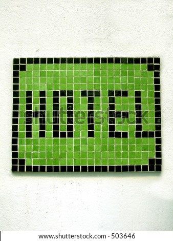 hotel mosaic on a wall - stock photo