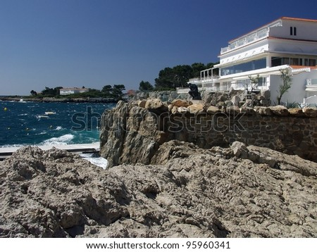 hotel on coast cap d'antibes alpes maritimes south of france cote d'azur provence france europe - stock photo
