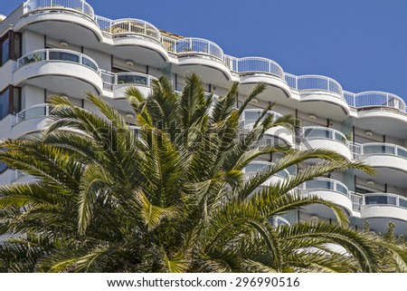 Hotel palaces and chic villas surrounded by charming parks shape the streetscape of the posh Bordighera - stock photo