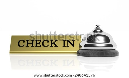 Hotel reception bell and Check in card isolated on white - stock photo