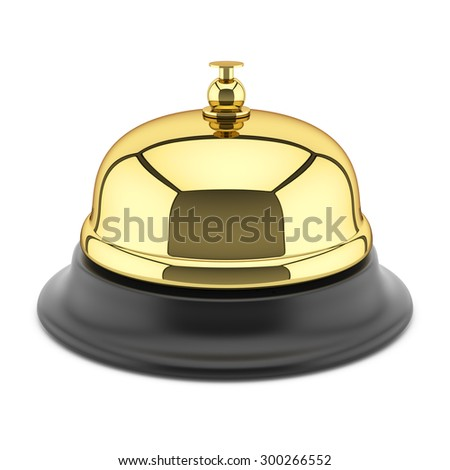 Hotel reception bell isolated on white background 3d - stock photo
