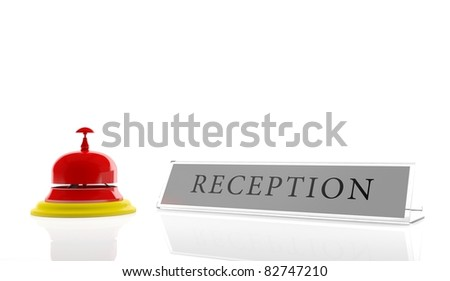Hotel reception (3D render) - stock photo